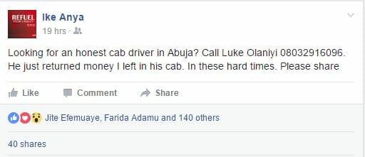 Honest Abuja Taxi man