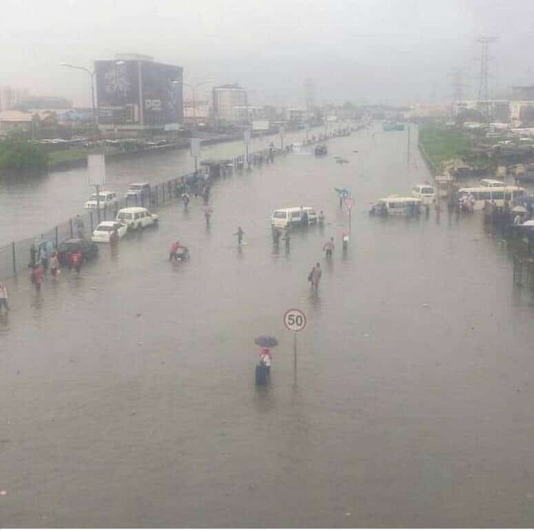 Flood in a sand-filled area of Lagos