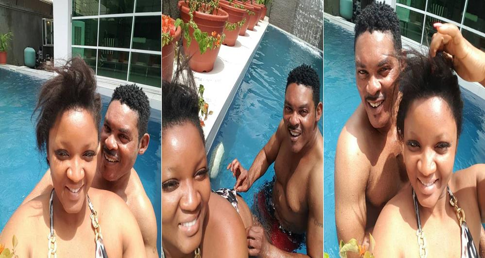 Photo of Nollywood Actress Omotola Ekeinde and her husband get naughty while swimming (Photos)