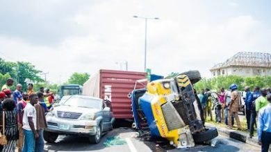 Photo of Checkout The Accident That Trapped Several Vehicles In Ikorodu Lagos (Photos)