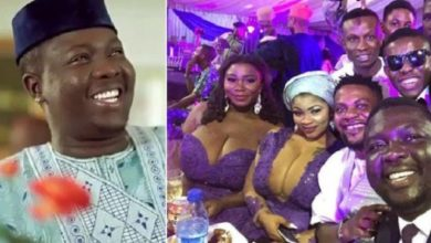 Photo of Seyi Law's Hilarious reaction to the outfit of some interesting guests at Oritsefemi's Wedding
