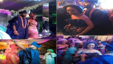 Photo of #BAAD2017 Banky W and Adesua Etomi make a 2nd grand entrance at their wedding reception by emerging from a screen (Photos/Video)