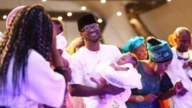 Photo of Peter and Jude absent as Paul Okoye and Anita dedicate their twins in church (more photos)