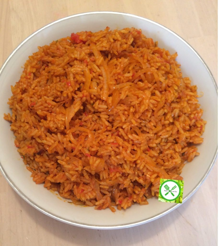 Jollof rice in a plate