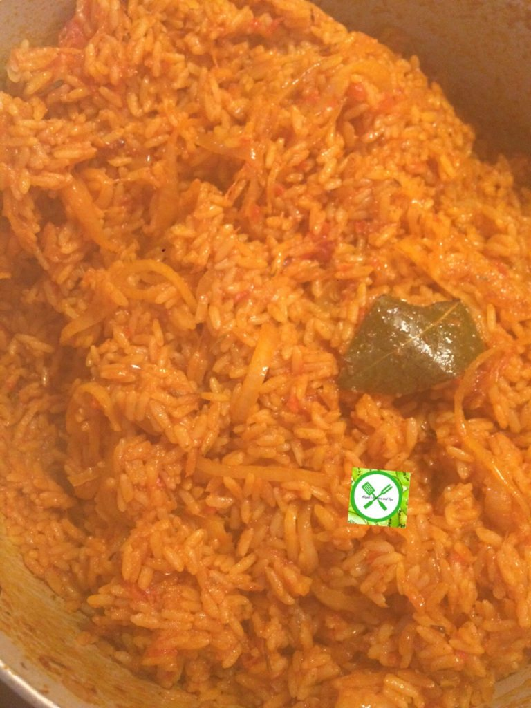 Jollof rice in a pot