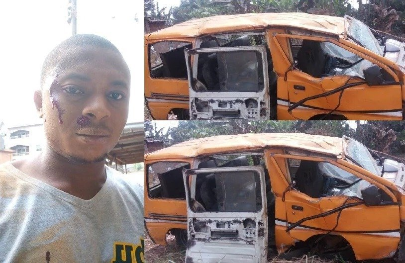 Photo of Nigerian man survives ghastly bus accident, girlfriend pens interesting message  (Photos)