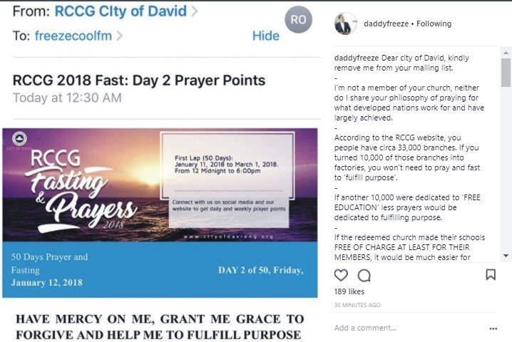 Daddy Freeze Slams RCCG's 50-Day Fasting