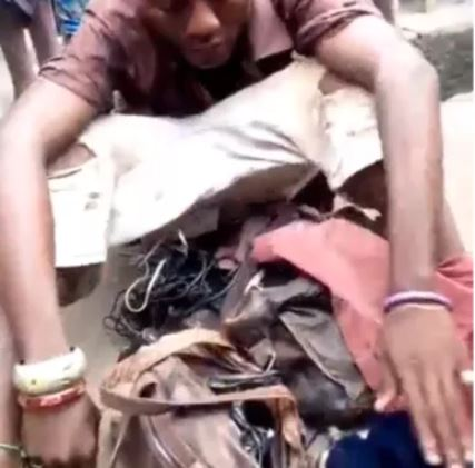 Photo of Man posing to be mad, caught with POS, tortoise, charms and phone in Lagos (Photo/video)