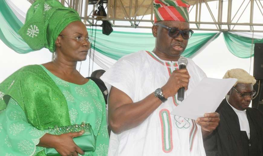 Photo of Fayose's wife invokes the wrath of God on her husband's enemies