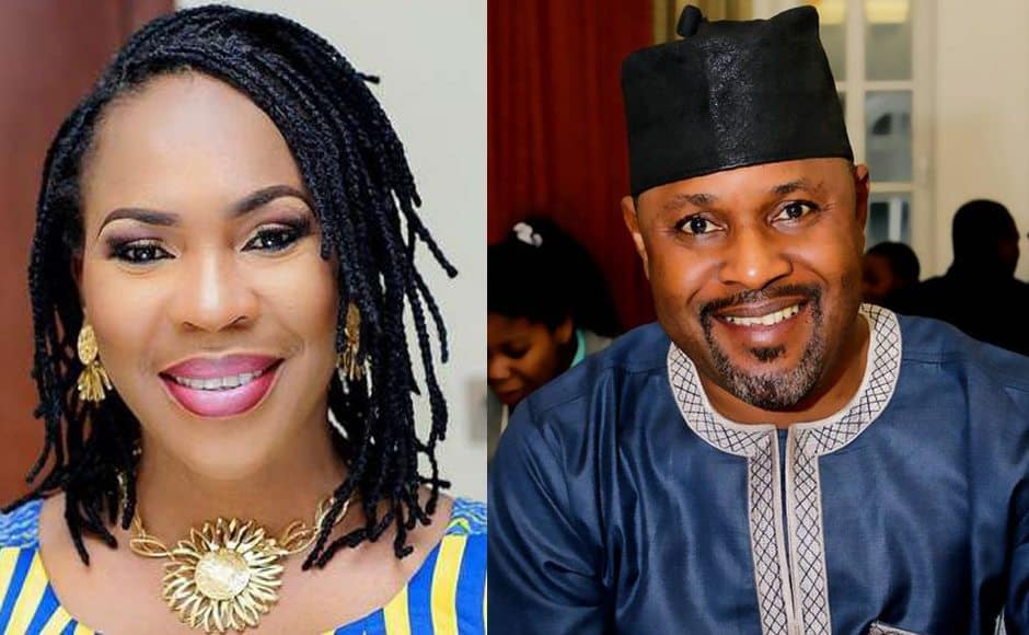 Photo of Saheed Balogun and ex-wife, Faithia reunite at Mercy Aigbe's 40th birthday gig (video)