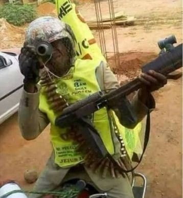 Photo of Lord's Chosen Church member dresses as a 'Military man' for evangelism (Photos)