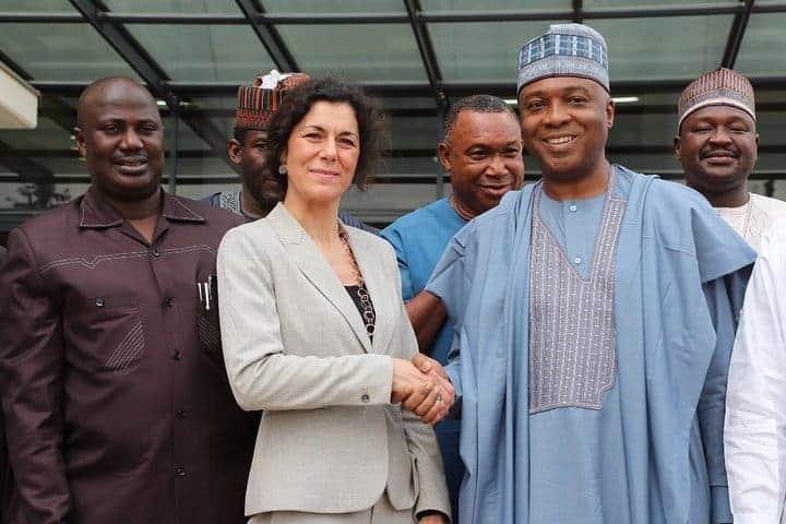 Photo of Saraki meets with executive director of IPI, Barbara Traori