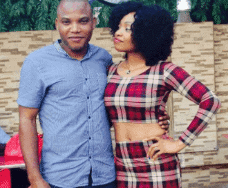 Photo of Biafra leader, Nnamdi Kanu & wife reportedly spotted in Ghana