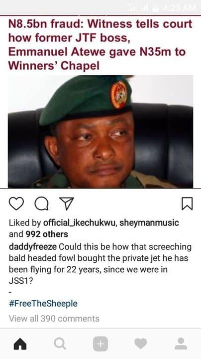 Photo of Nigerians React after Daddy Freeze calls Bishop Oyedepo 'Bald Headed Fowl'