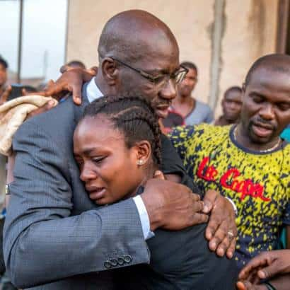 Photo of Edo State Governor visits family of driver killed by a police officer, grants children N10 million (Emotional photos)