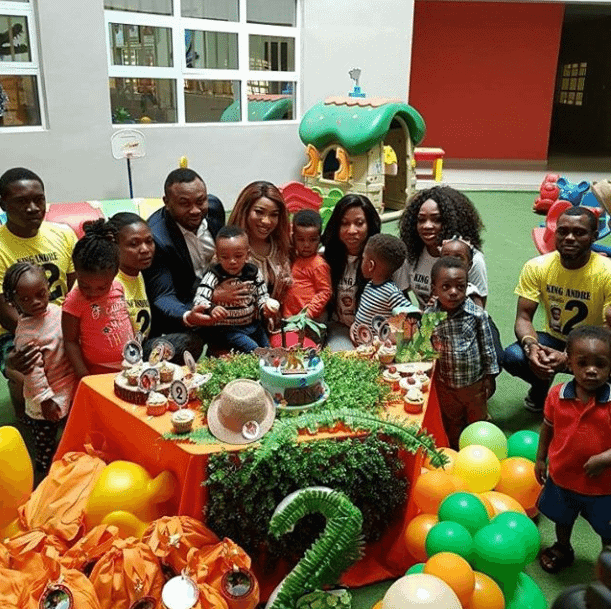 Photo of Tonto Dikeh and Churchill Olakunle pictured together at son's 2nd birthday party