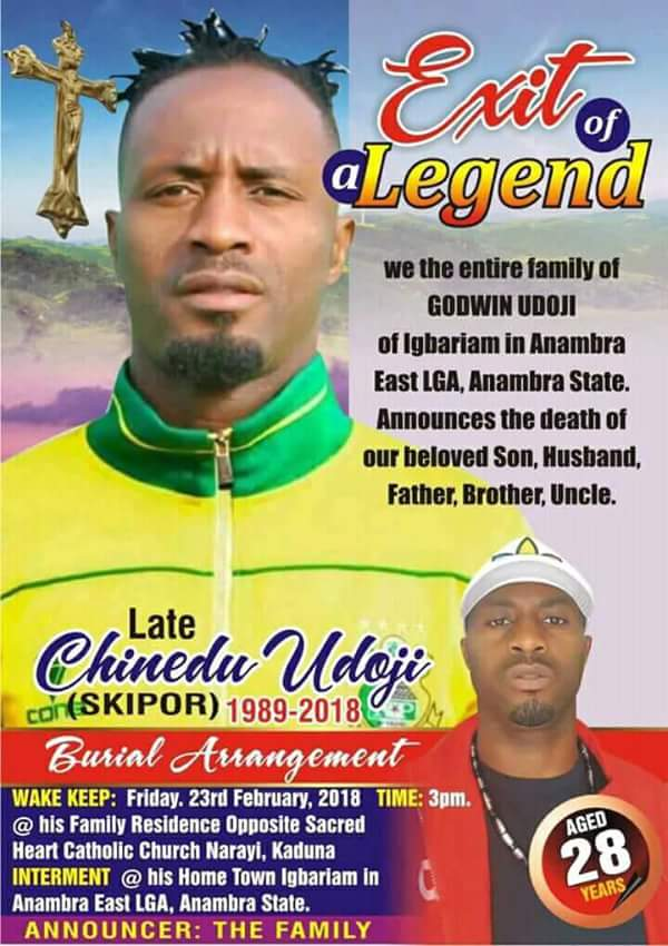 Photo of Burial poster of late Kano Pillars player, Chinedu Udoji (picture)