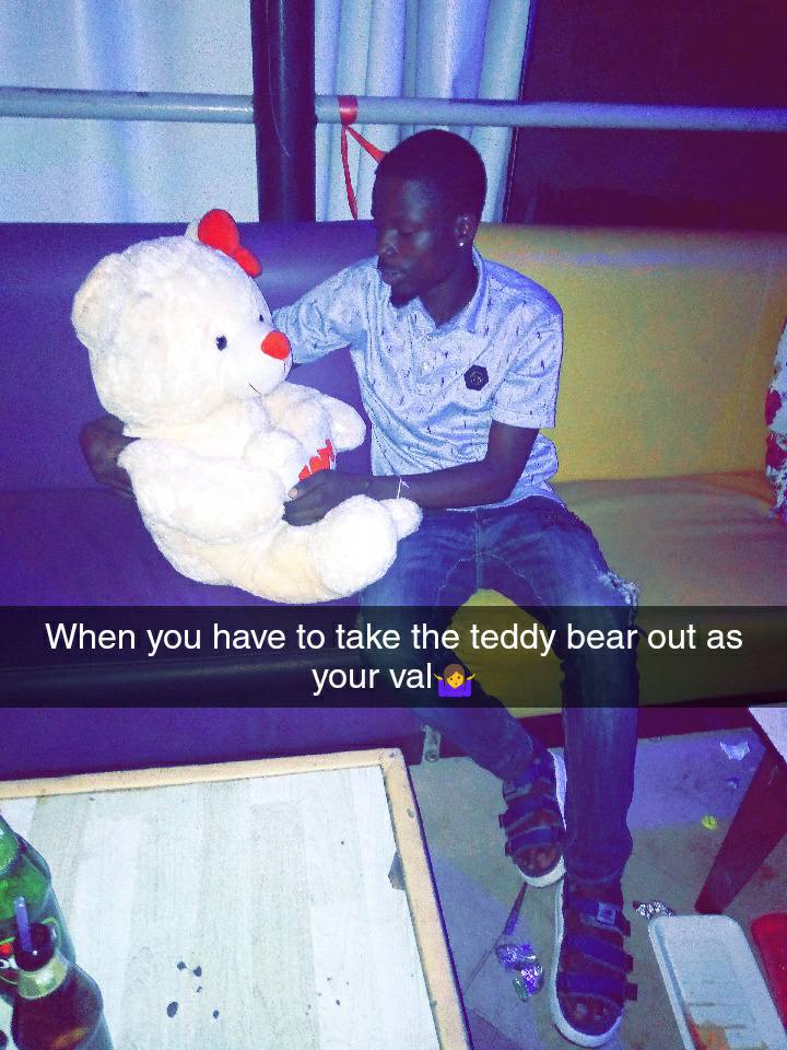 Photo of Man Celebrates His Valentine With A Teddy Bear (Pictures)