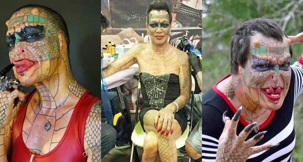 Photo of 'Dragon lady' who was born a man reveals how an HIV diagnosis inspired her to morph into a reptile
