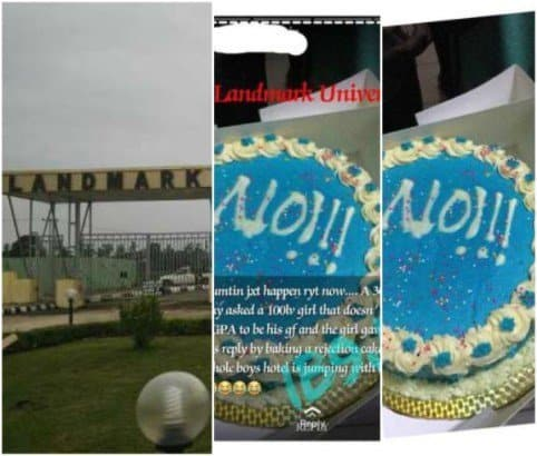Photo of Man receives a baked cake with a boldly written 'NO' from lady he proposed to (Photos)