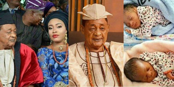 Photo of 80-yr-old Alaafin of Oyo welcomes twins with young wife, Memunat