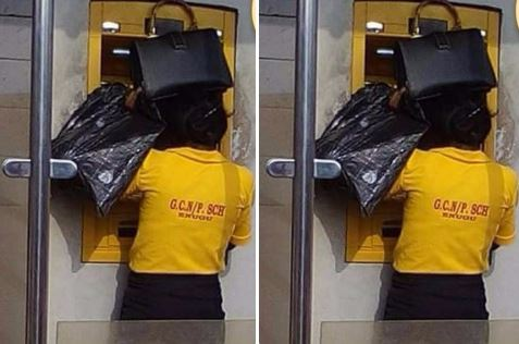Photo of Alleged female teacher covers ATM screen with her bag and nylon (Photos)