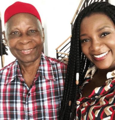 Genevieve Nnaji with her dad