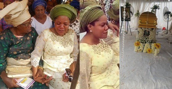 Photo of Actress Toyin Abraham tears up during her late father's service of songs (photos)