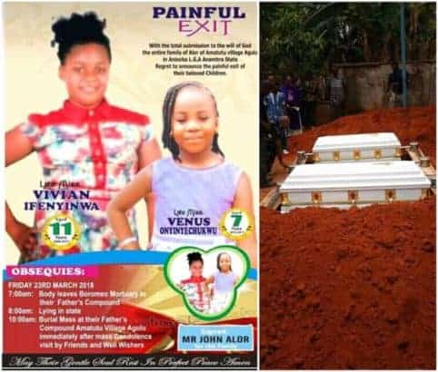 Photo of Two sisters killed by stray bullet during armed robbery operation finally laid to rest (Photos)