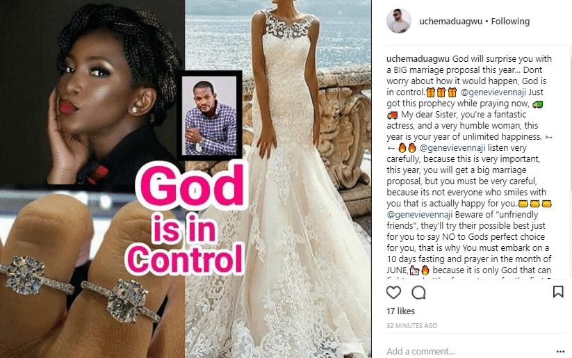 Uche Maduagwu prays for Genevieve Nnaji