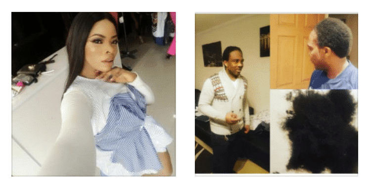 Photo of Ogbonna Kanu cuts his braids to celebrate Laura Ikeji on her birthday (photos)