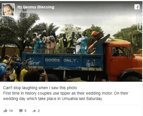 Photo of Couple pictured using tipper for their wedding