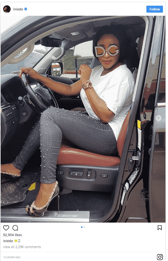 Photo of Ini Edo shows off her N900k D&G embellished glasses