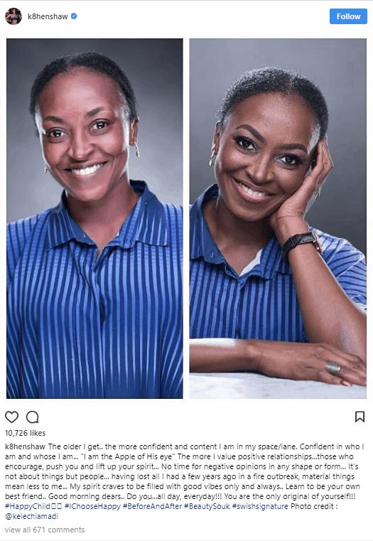 Photo of Actress Kate Henshaw shares before and after makeup photos