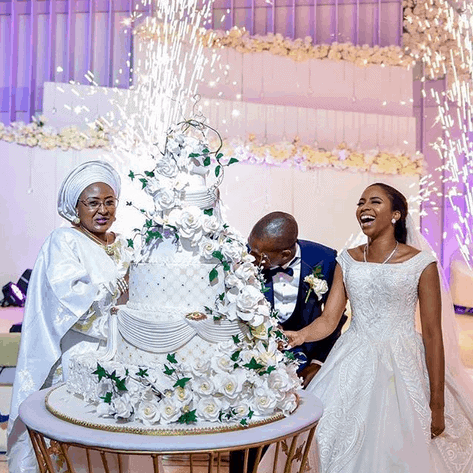 Photo of The moment Aisha Buhari made everyone laugh at Osinbajo/Shagaya's wedding reception (photos, details)
