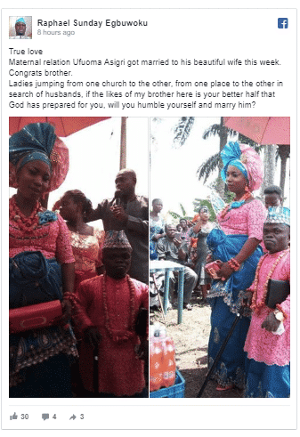 Image result for dwarf identified as Ufuoma Asigiri recently tied the know traditionally with his beautiful bride and they have since gone viral on the internet.