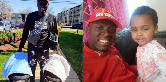 Photo of Comedian Akpororo steps out with his newborn twins for the first time