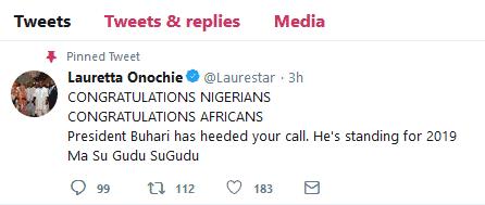 Lauretta Onochie congratulates