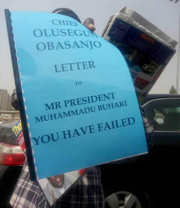 Photo of Obasanjo's open letter to Buhari used in UNILORIN 100 level Mass Comm exam question