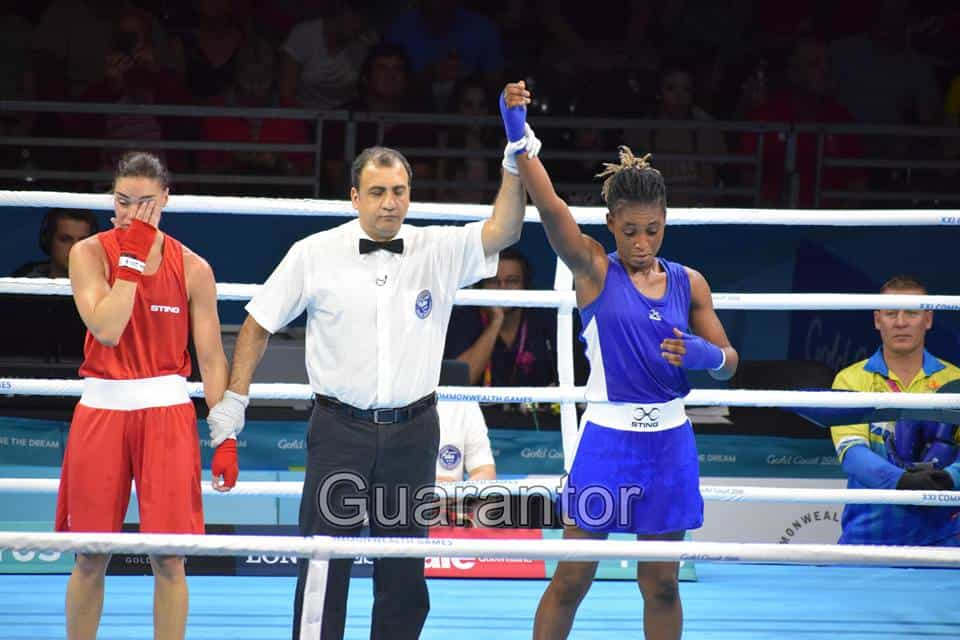 Nigerian Female Army Officer wins her boxing match at the 2018 Commonwealth games