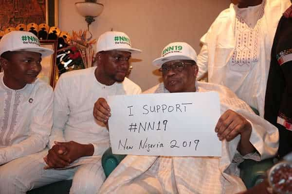 Photo of IBB and OBJ dump Buhari, rock customized caps as they campaign for youths (pics)