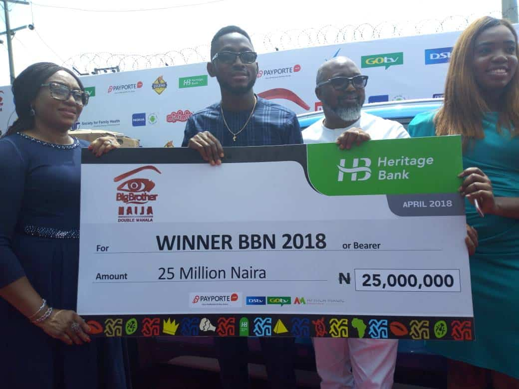 BBNaija: Miracle presented with 25 million Naira cheque and a car