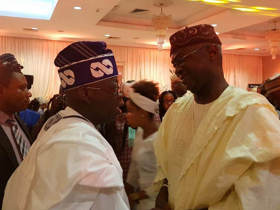 How Fashola and Tinubu greeted each other at an event in Lagos