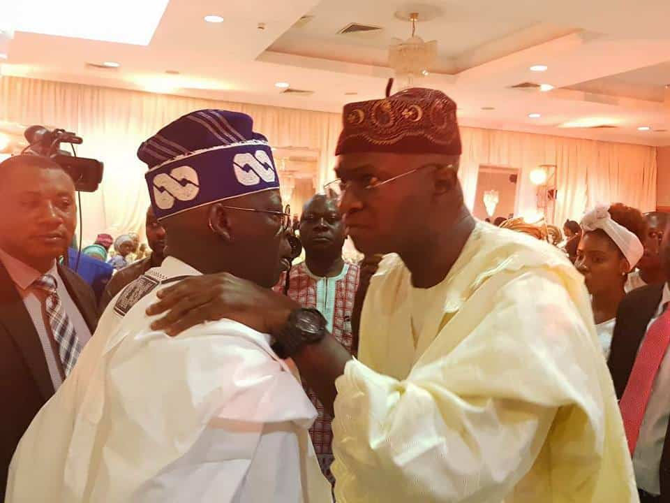Photo of How Fashola and Tinubu greeted each other at Osoba's daughter's wedding in Lagos (photos)