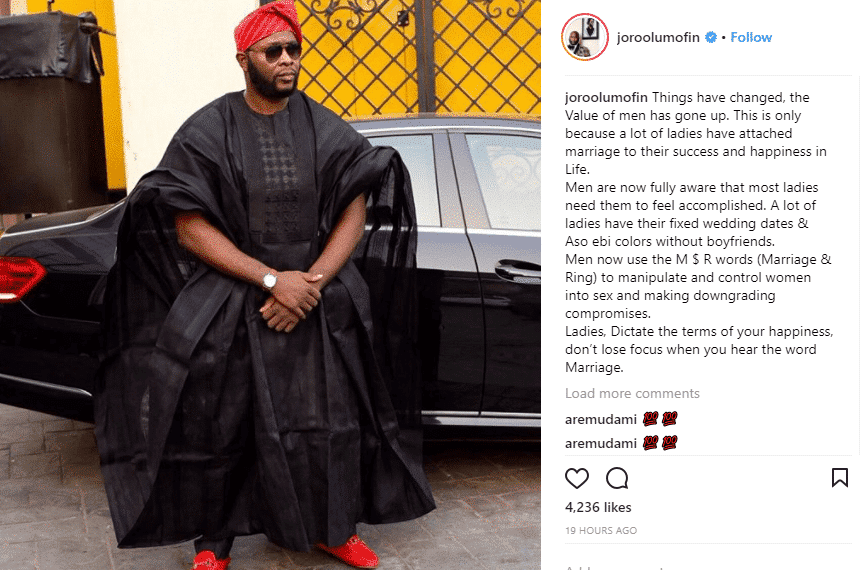 Men are now aware that ladies need them to feel accomplished - Joro Olumofin