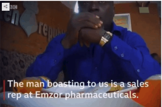 Photo of Sales rep at Emzor Pharmaceuticals selling illegal codeine nabbed by undercover BBC reporters