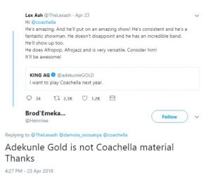Simi slams Twitter user who said Adekunle Gold is not Coachella material up