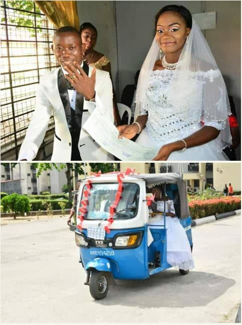 Photo of Adorable wedding photos of former Keke driver who met his wife while on duty
