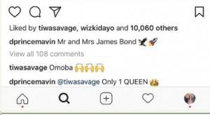 Capture-300x164 D'prince Calls Wizkid and Tiwa Savage 'Mr & Mrs;  See Tiwa's Response Entertainment