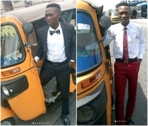 Photo of Photos of Nigerian corporate tricycle rider goes viral